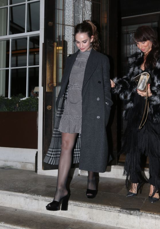 Lily James - Leaving the Restaurant 34 Mayfair in London 10/27/2018