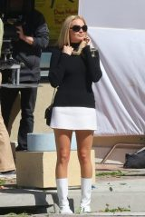 "Margot Robbie Shows Off Her Legs in Mini Skirt - ""Once Upon A Time in Hollywood"" Set 10/15/2018"
