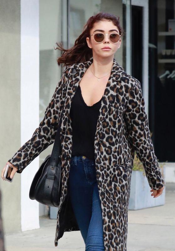 Sarah Hyland in a Leopard Coat in Studio City 10/13/2018