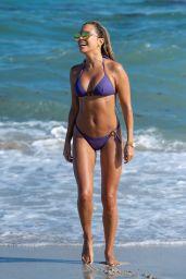 Sylvie Meis in a Purple Bikini on Miami Beach 10/03/2018