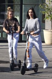 Amelia and Delilah Hamlin on Scooters in West Hollywood 11/18/2018
