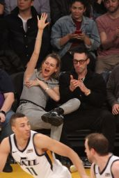 Behati Prinsloo and Adam Levine at the Lakers Game in LA 11/23/2018