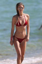 Danielle Knudson in a Red Bikini on Miami Beach 11/10/2018