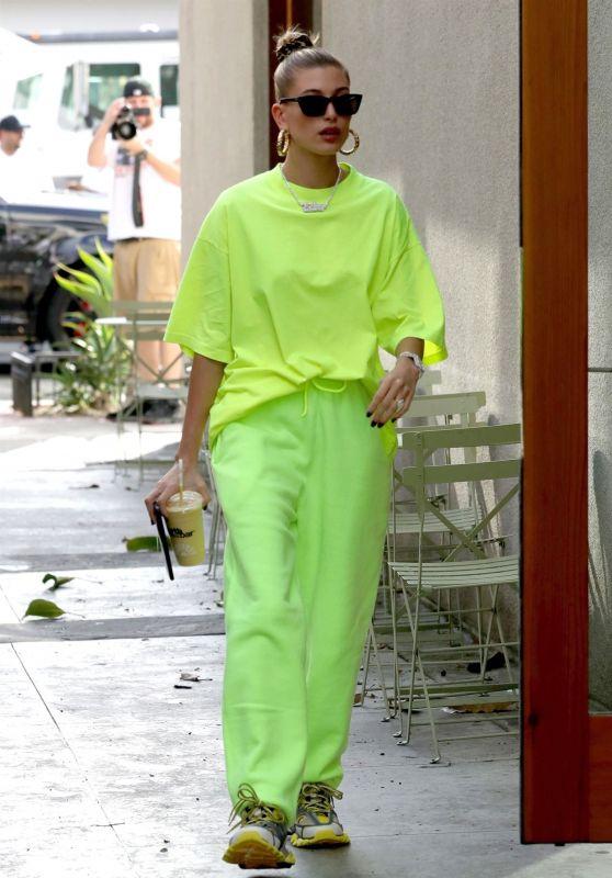 Hailey Baldwin in a Neon Green T-Shirt and Sweatpants 11/29/2018
