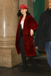 Jessie J in a Red Fur at Spotify in New York 11/05/2018