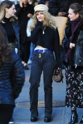 Juno Temple and Lily James in Matching Black Attire - NYC 11/20/2018