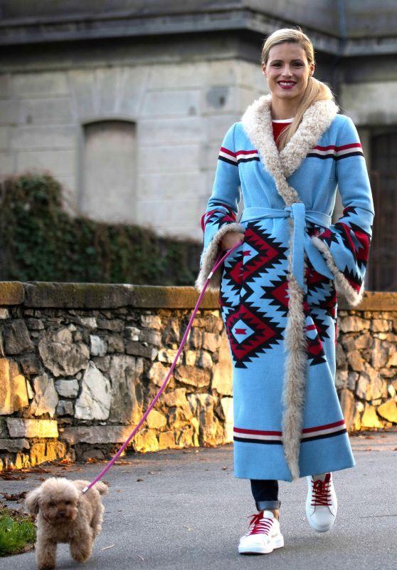 Michelle Hunziker - Walking Her Dog in Milan 11/21/2018