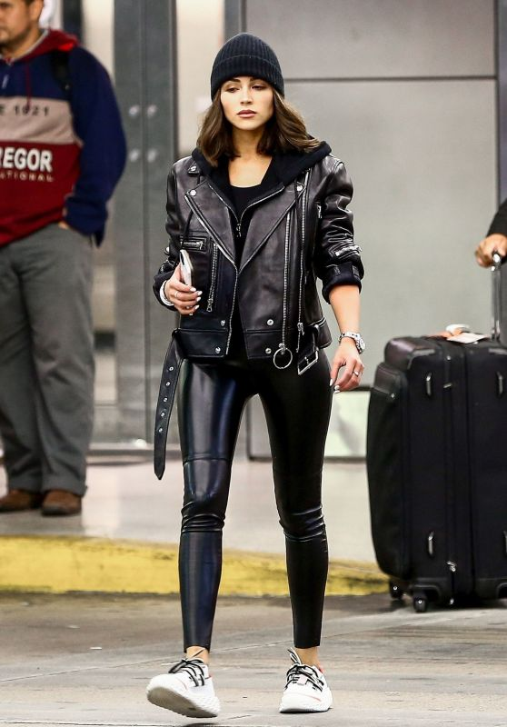 Olivia Culpo in Leather Jacket and Skintight Leather Pants 11/16/2018
