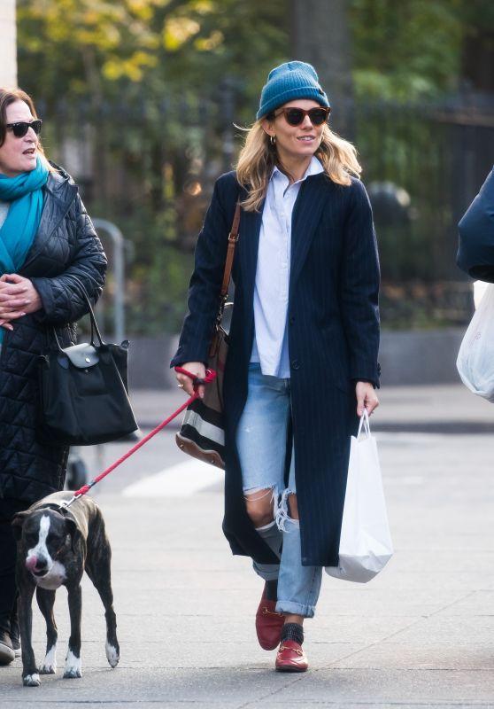 Sienna Miller - Walking Her Dog in NYC 11/19/2018