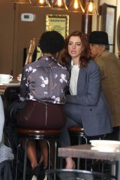 "Anne Hathaway Wears a Suit at the ""Modern Love"" Set 12/04/2018"