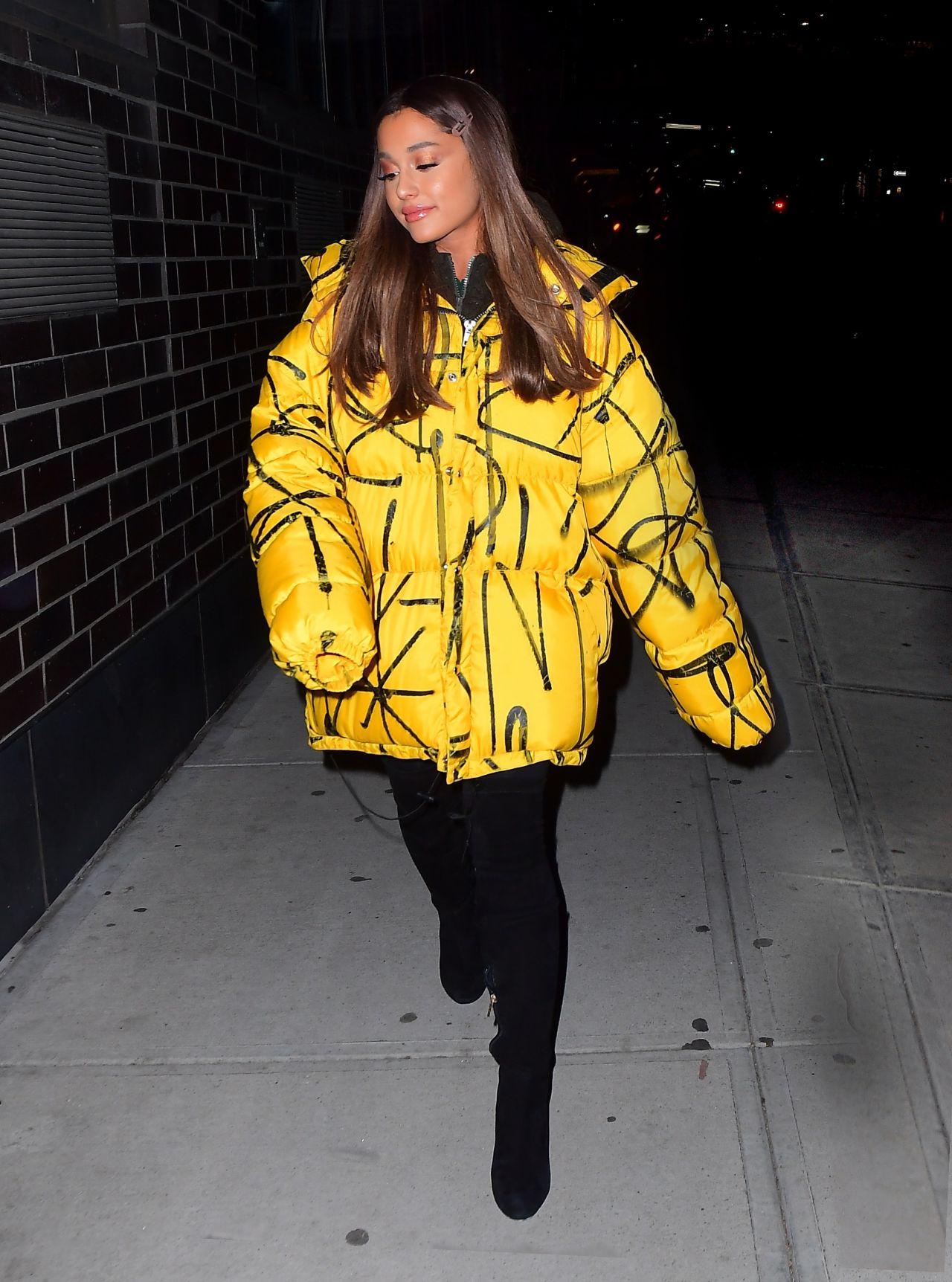 Ariana Grande In Oversized Yellow Puffer Jacket 12 11 2018