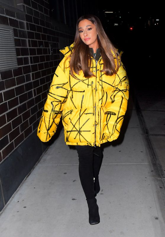 Ariana Grande in Oversized Yellow Puffer Jacket 12/11/2018