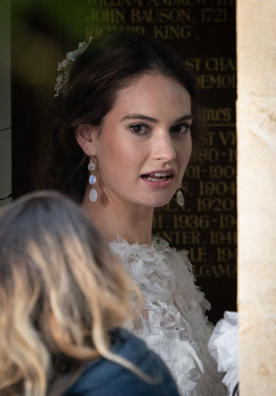 Lily James - Filming For The Comic Relief Special One Red Nose and A Wedding in Mayfield, December 2018