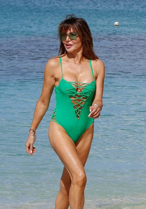 Lizzie Cundy in a Bright Green Swimsuit 12/29/2018