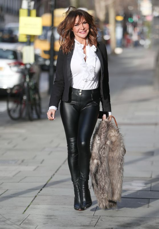 Lizzie Cundy Style and Fashion - Leaving Jeremy Vine TV Show in London 12/19/2018