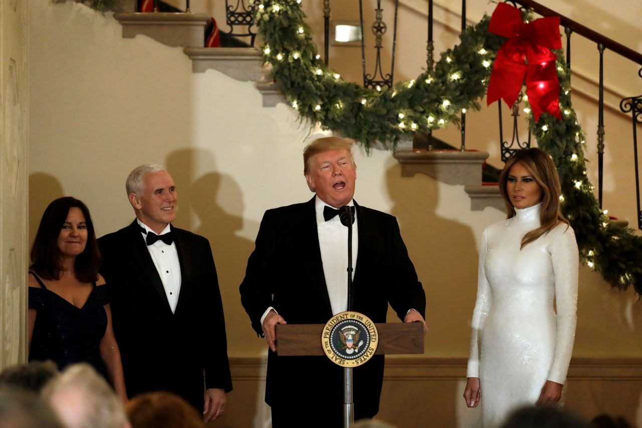 Melania Trump And Donald Trump Greets Guests At The