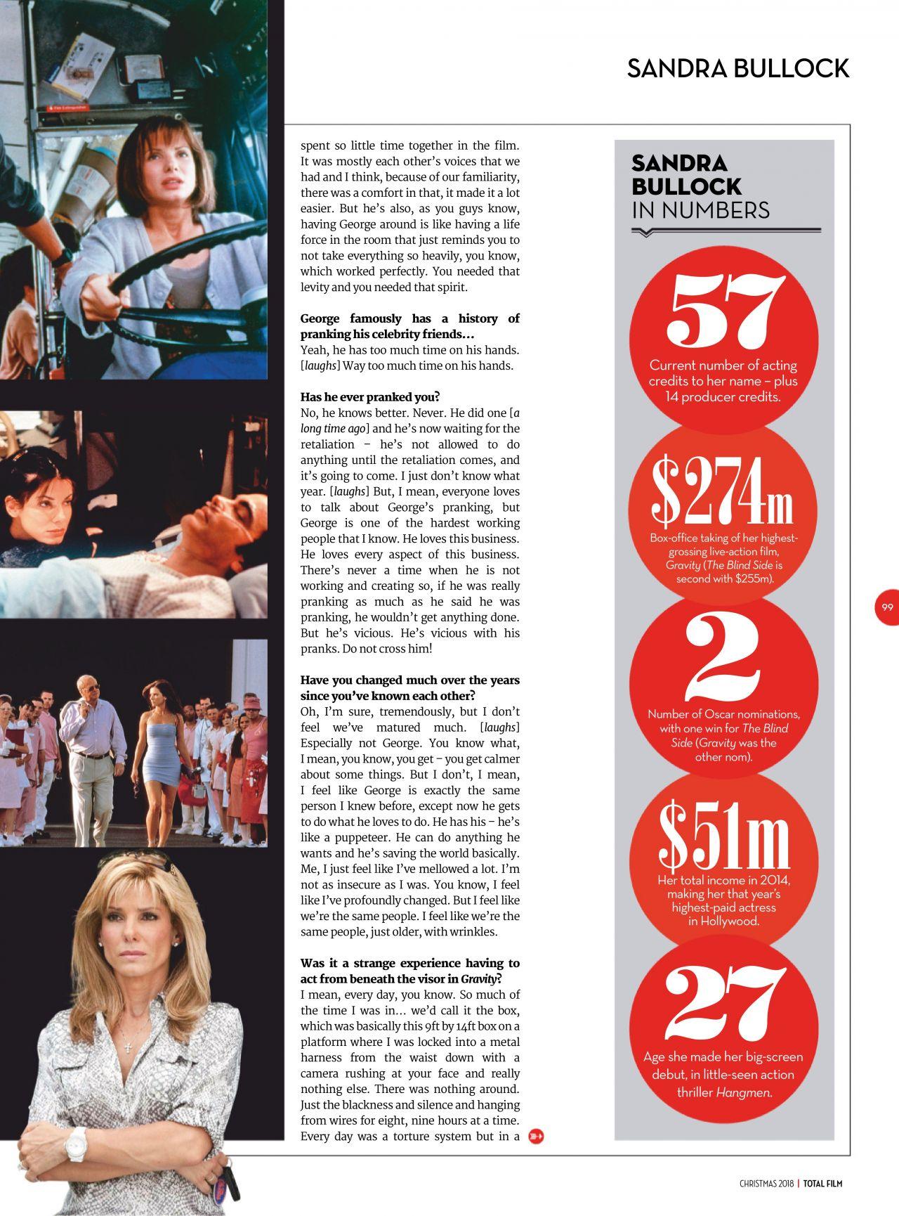 Sandra Bullock - Total Film January 2019 Issue