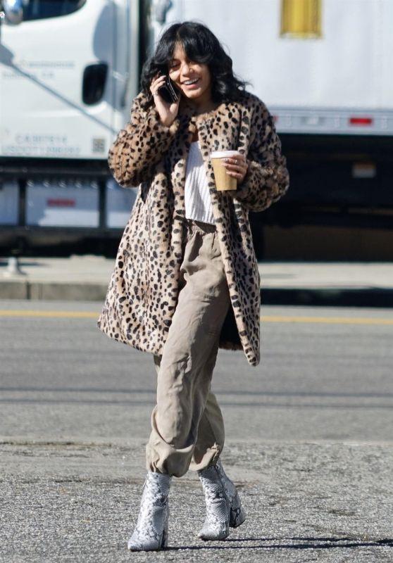 Vanessa Hudgens Animal Print Coat Outfit - Los Angeles 12/07/2018