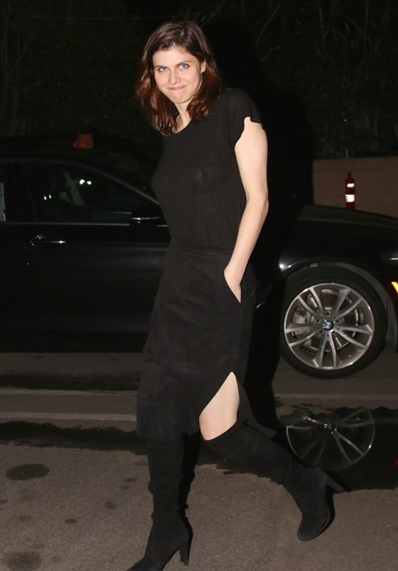 Alexandra Daddario in a Black Dress - Beverley Hills 01/12/2019