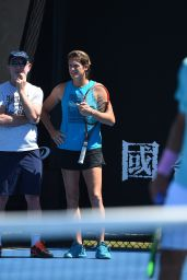 Amelie Mauresmo – Durring Practice of Lucas Pouille in Melbourne 01/13/2019