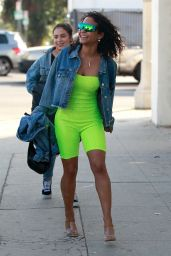 Christina Milian in Neon Green - Shops in Los Angeles 01/30/2019