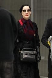 Dita Von Teese - Airport in Paris 01/20/2019