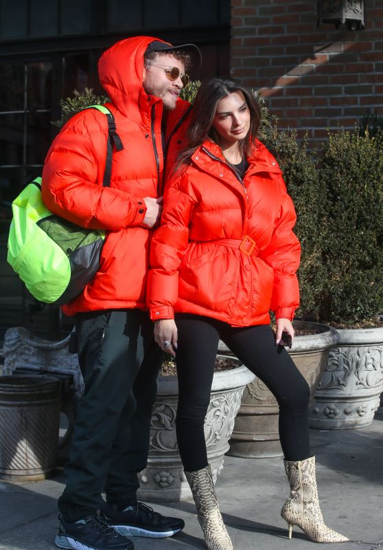 Emily Ratajkowski and Sebastian Bear-McClard in Red Parkas - New York City 01/25/2019