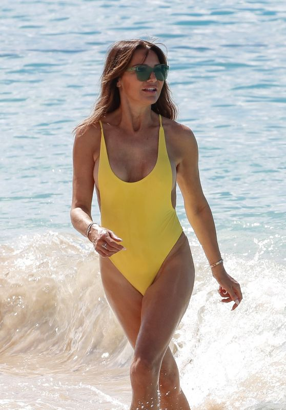 Lizzie Cundy in a Yellow Swimsuit on the Beach in Barbados 01/03/2019