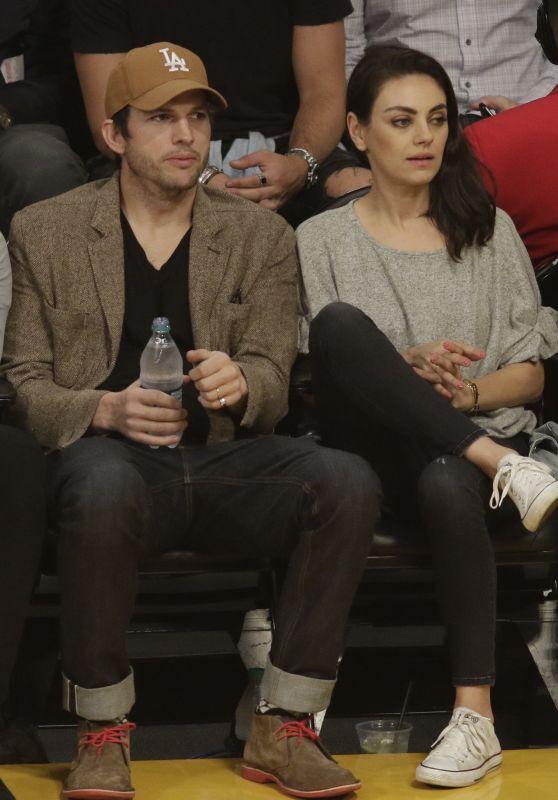Mila Kunis and Ashton Kutcher - LA Lakers vs Philadelphia 76
