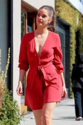 Barbara Palvin in a Red Mini Dress - Armani Pop Up Store in West Hollywood 02/21/2019