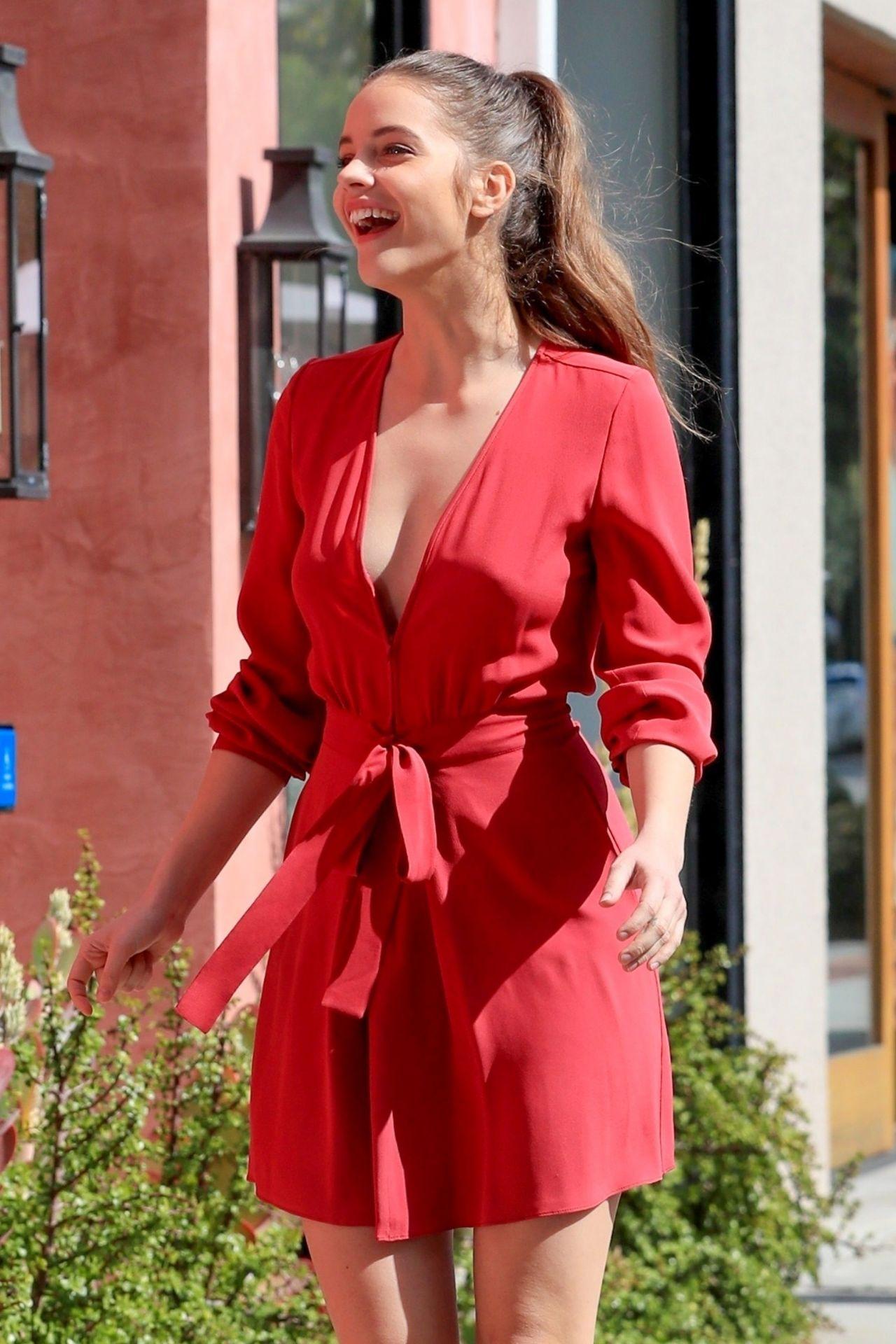 Barbara Palvin In A Red Mini Dress Armani Pop Up Store