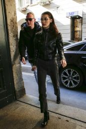 Bella Hadid - Arrives at Versace Headquaters in Milan 02/21/2019