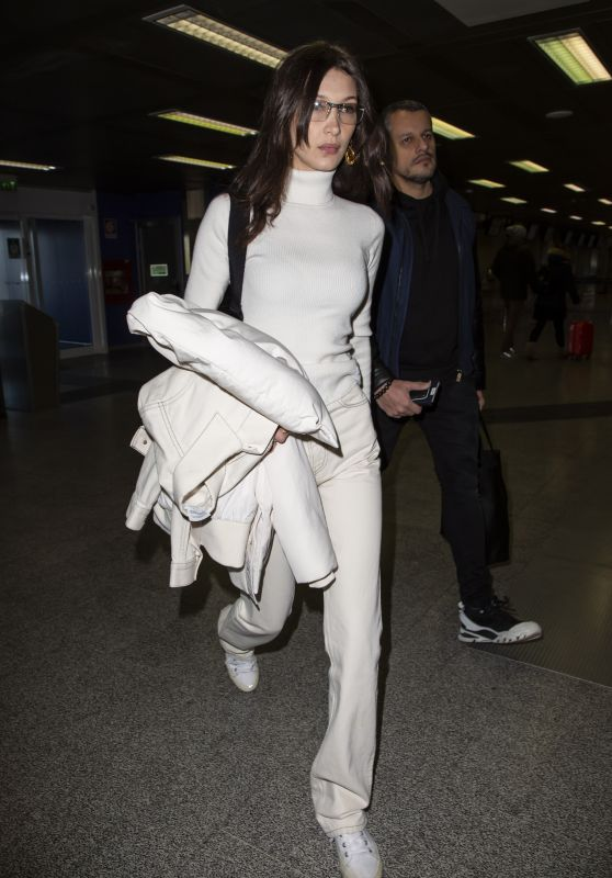 Bella Hadid in Travel Outfit at Linate Airport in Milan 02/24/2019