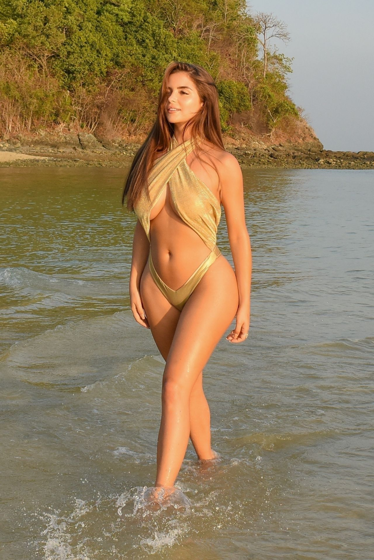 demi rose in a gold swimsuit  february 2019