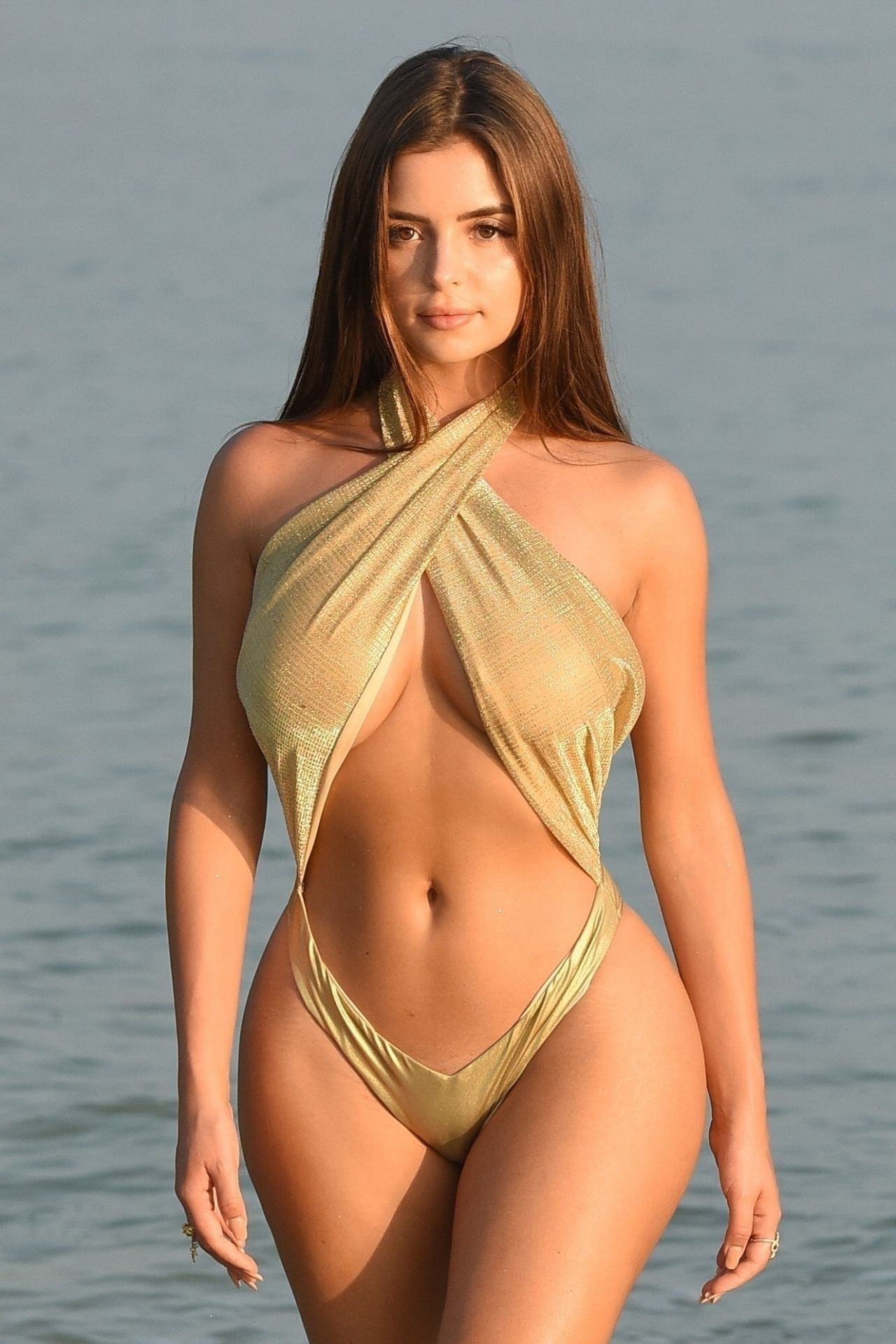 Demi Rose In A Gold Swimsuit, February 2019-6862