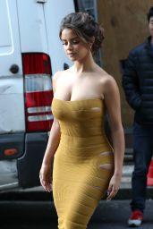 Demi Rose in Skin-Tight Mustard Dress 02/15/2019