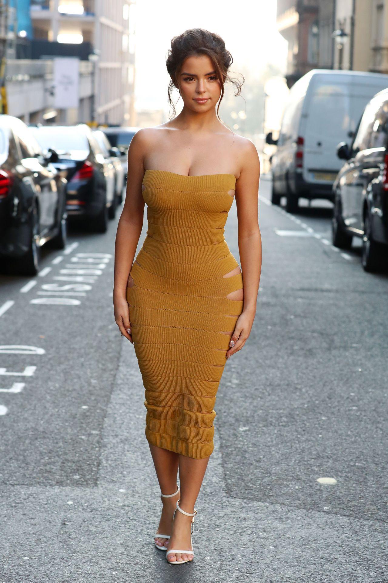 Demi Rose In Skin Tight Mustard Dress 02 15 2019