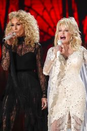 Dolly Parton and Miley Cyrus Perform During the 61st Grammy Awards