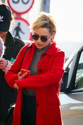 Emilia Clarke in Travel Outfit - Heathrow Airport in London 02/21/2019