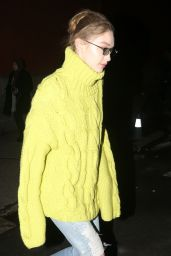 Gigi Hadid in an Olive Yellow-Green Knit Sweater - New York City 02/13/2019