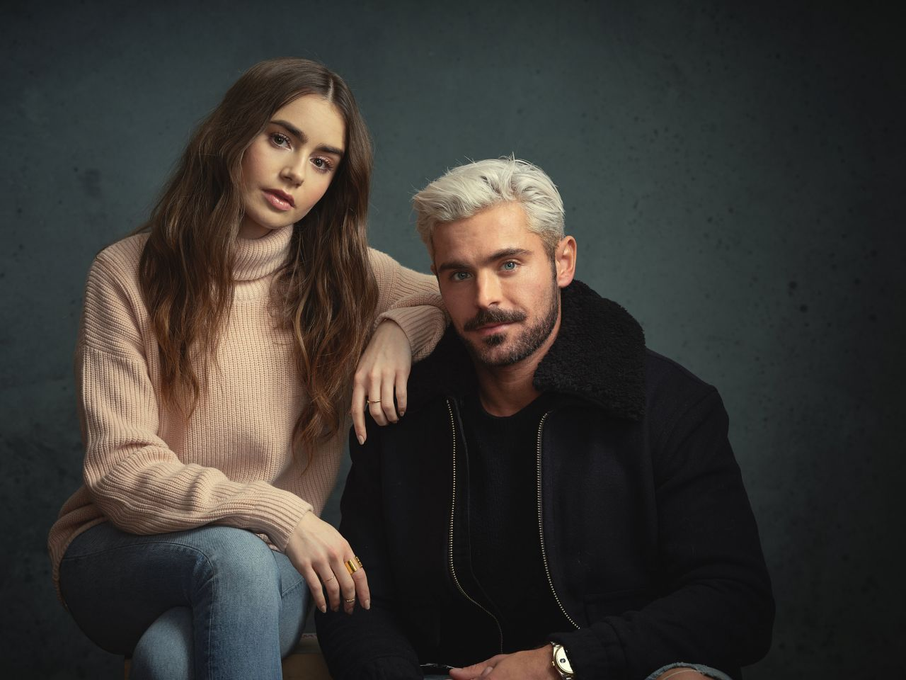 Lily Collins And Zac Efron Deadline Studios Portraits At