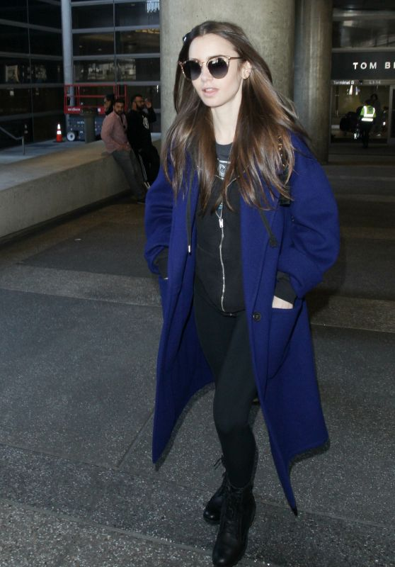 Lily Collins in Travel Outfit - LAX Airport 02/11/2019