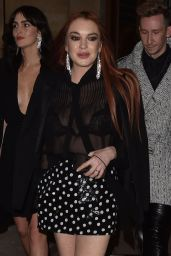 Lindsay Lohan Night Out Style - Paris 02/26/2019