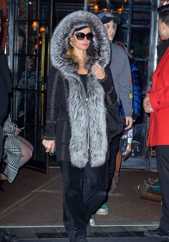 Paris Hilton in Faux-Fur-Lined Coat - Manhattan 02/17/2019