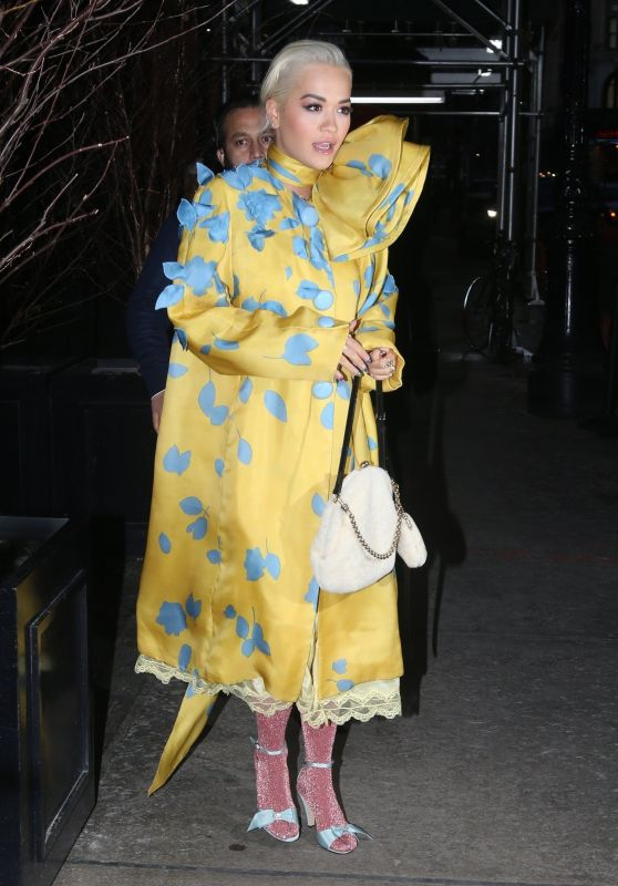 Rita Ora in a Yellow and Blue Dress and Pink Stockings 02/13/2019