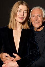 Rosamund Pike – Giorgio Armani Fashion Show in Milan 02/23/2019