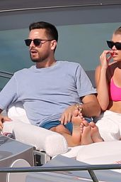 Sofia Richie in a Pink Bikini Top on a Yacht in Miami 02/17/2019