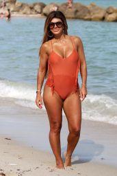 Teresa Giudice in a Peach Swimsuit 02/15/2019