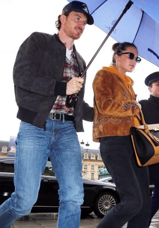 Alicia Vikander and Michael Fassbender in Paris 03/04/2019