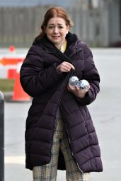 Alyson Hannigan - Tries Her Best to Keep Warm Filming in Vancouver 03/15/2019